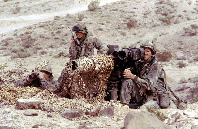 Infantrymen prepare to fire a tube-launched, optically-tracked, wire-guided (TOW) missile system during exercise Gallant Eagle '82 at the National Training Center