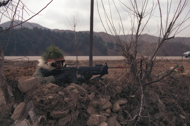 Private First Class (PFC) Heriberto Torres of Company A, 1ST Battalion, 14th Infantry, 25th Infantry Division, prepares to fire an M16A1 rifle equipped with an M203 grenade launcher at advancing Blue Forces during the joint South Korean/US Exercise TEAM SPIRIT '84. He is a member of the Orange Forces
