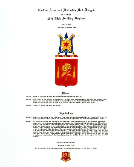 Approved insignia for: 29th Field Artillery Regiment, 1ST Battalion