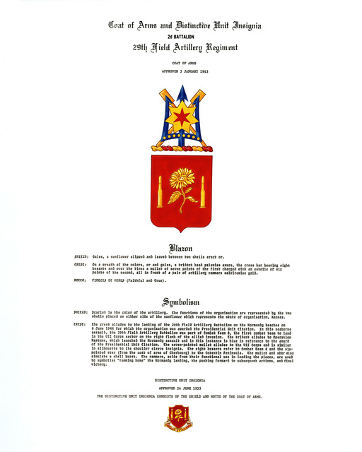 Approved insignia for: 29th Field Artillery Regiment, 2nd Battalion