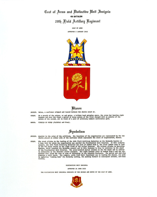 Approved insignia for: 29th Field Artillery Regiment, 4th Battalion