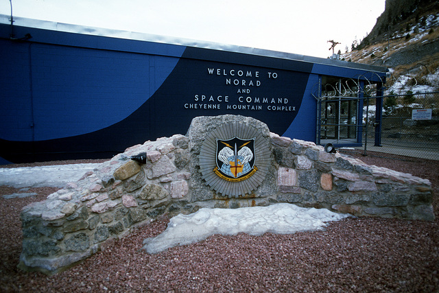 The entrance to the North American Air Defense Command (NORAD) Cheyenne Mountain Complex