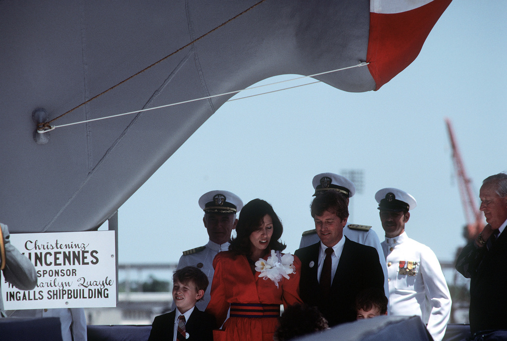 Senator Dan Quayle (R-IN) his wife, Marilyn, and their children stand on the christening platform during the launching ceremony for the Aegis guided missile cruiser USS VINCENNES (CG 49) at Ingalls Shipbuilding Corp. Mrs. Quayle is the sponsor
