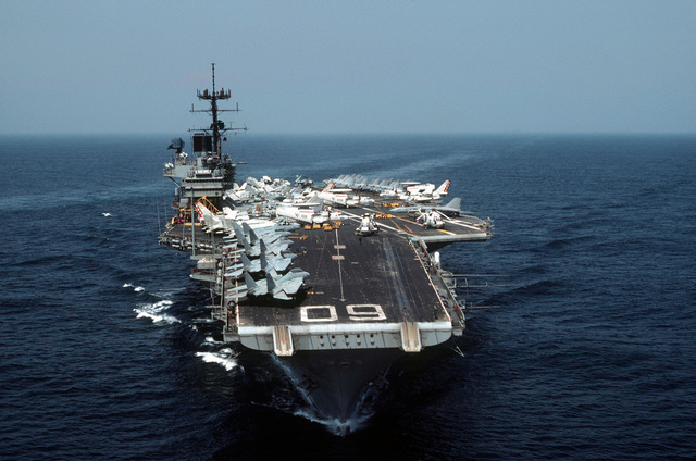 A bow view of the aircraft carrier USS SARATOGA (CV 60) underway during operations with the 6th Fleet