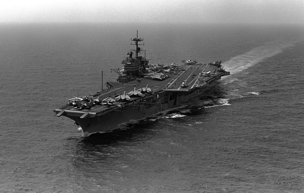 A port bow view of the aircraft carrier USS SARATOGA (CV 60) underway during operations with the 6th Fleet