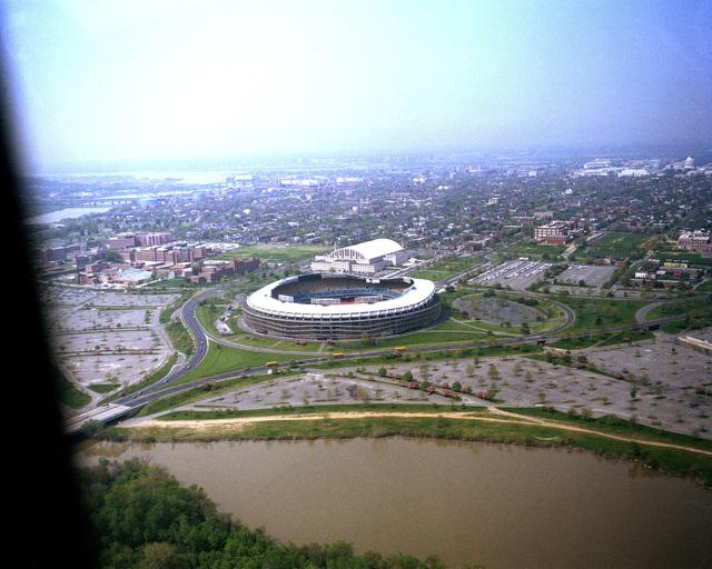 An aerial view of Robert F. Kennedy Memorial Stadium