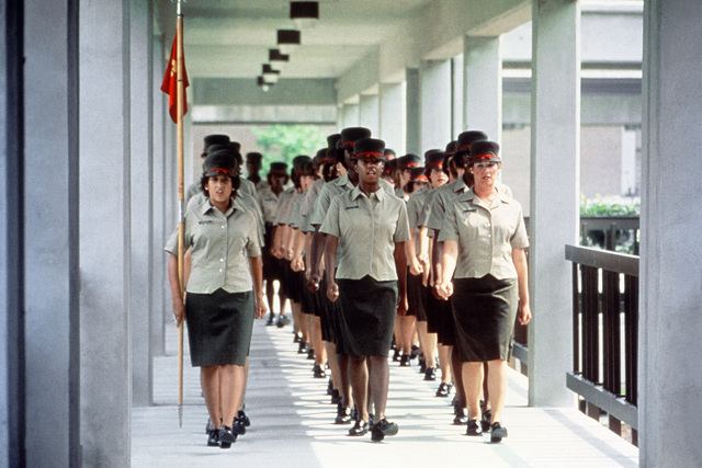 Marine Corps Recruit Depot.  Recruits from the Woman Recruit Training Command march to the parade ground for a personal appearance inspection during basic training