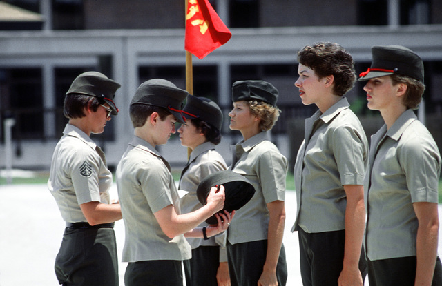 Recruits from the Woman Recruit Training Command undergo a personal appearance inspection during basic training