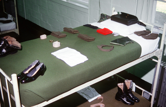 The bunk of a recruit from the Woman Recruit Training Command is ready for inspection during basic training