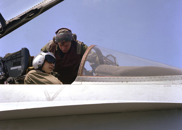 A plane captain makes a final check with the pilot of an F/A-18 Hornet aircraft during flight operations aboard the nuclear-powered aircraft carrier USS CARL VINSON (CVN-70)