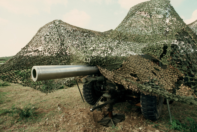 The barrel of a Marine Corps M114 155 mm Howitzer protrudes from under camouflage netting during Exercise OCEAN VENTURE '84