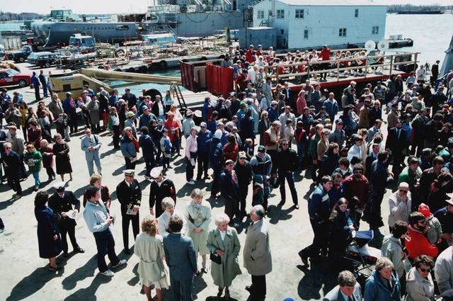 Guests attend the lauching ceremony for the Safeguard class salvage ship GRASP (ARS 51) at Peterson Builders Inc. The salvage ship SAFEGUARD (ARS 50) is visible in the background