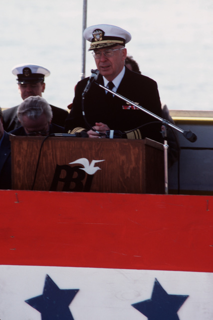 Vice Admiral Earl B. Fowler, Commander, Naval Sea Systems Command, speaks during the launching ceremony for the Safeguard class salvage ship GRASP (ARS 51) at Peterson Builders Inc