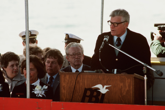 Vice Admiral Edward G. Waller III, USA (Retired), speaks during the launching ceremony for the Safeguard class salvage ship GRASP (ARS 51) at Peterson Builders Inc