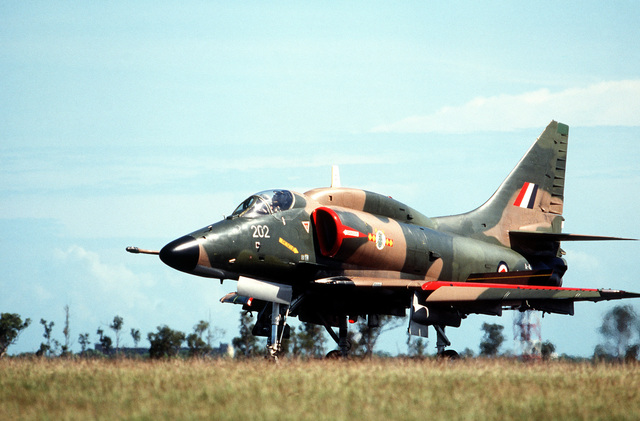 A left front view of a Royal New Zealand Air Force A-4 Skyhawk aircraft in use during the joint Australia/New Zealand/US Exercise PITCH BLACK '84