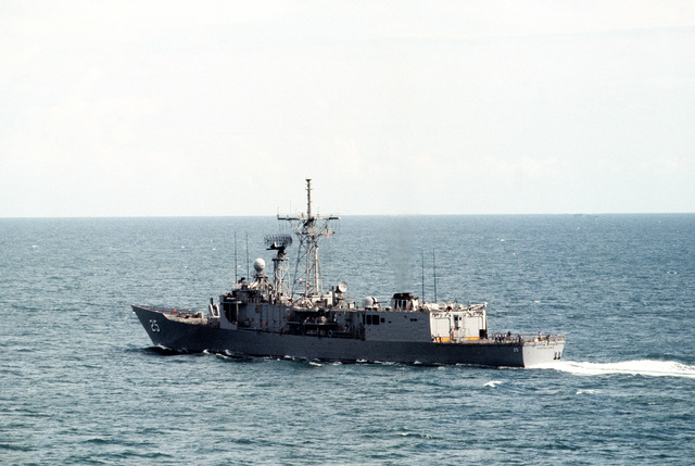 A port quarter view of the guided missile frigate USS COPELAND (FFG 25) underway during operations with the Australian navy as part of the joint Australia/New Zealand/US Exercise PITCH BLACK '84