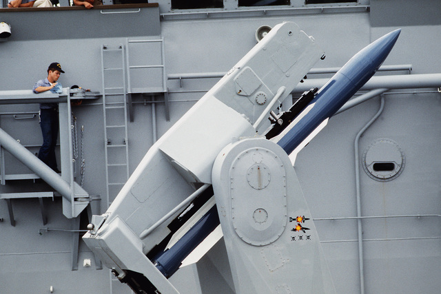 A view of a Standard-2 (SM-2) medium range missile on a Mark 13 launcher aboard the guided missile frigate USS COPELAND (FFG-25), as the ship operates with the Australian Navy as part of the joint Australia/New Zealand/U.S. Exercise Pitch Black '84
