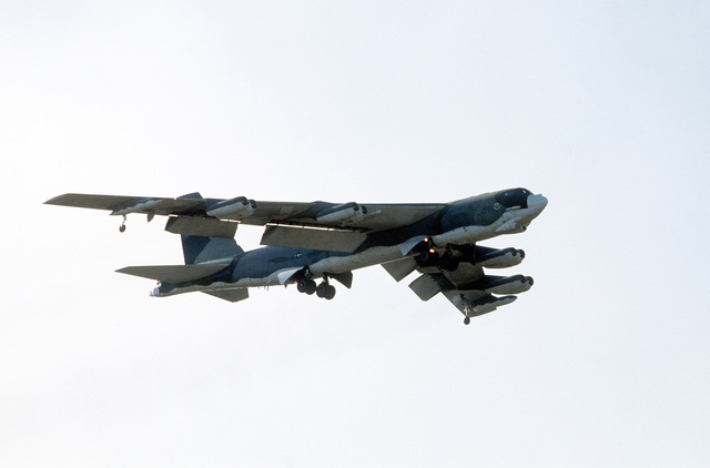 Bottom right view of a B-52 Stratofortress aircraft in flight during PITCH BLACK 84, a joint US, Australian and New Zealand exercise