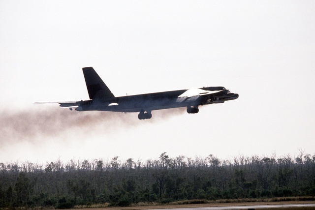 Right side view of a B-52 Stratofortress aircraft taking off during Exercise PITCH BLACK 84, a joint US, Australian and New Zealand exercise
