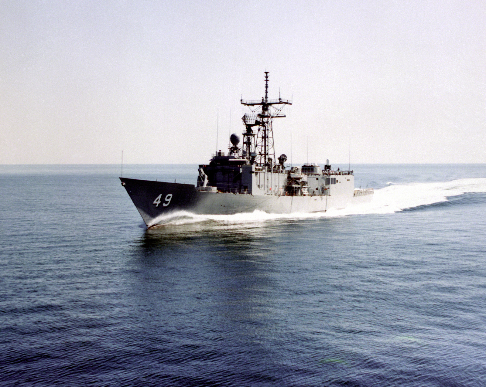 A port bow view of the guided missile frigate ROBERT G. BRADLEY (FFG-49) underway during sea trials