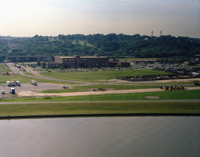 An aerial view of the Naval Audiovisual Center located in the Anacostia Naval Station