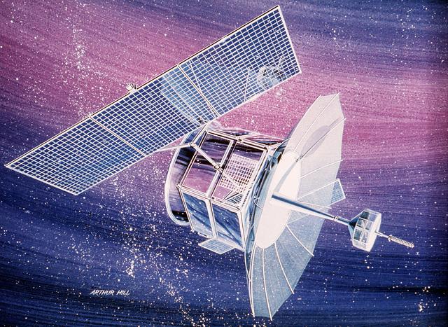 An artist's concept of the TRW FLTSATCOM communications satellite