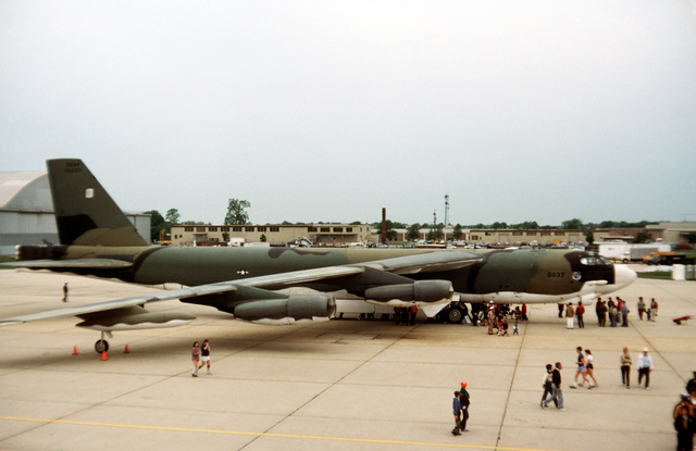 A right side view of an Air Force B-52G Stratofortress bomber aircraft on display at the Department of Defense open house air show