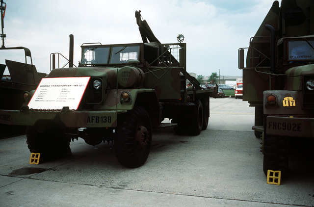 An Army M812 bridge transporter truck used to set up a portable ribbon bridge is displayed at the Department of Defense open house air show