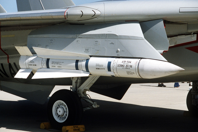 An AIM-54A Phoenix air-to-air missile mounted on the wing PAVE Knife pod of an F-14A Tomcat at the open house air show