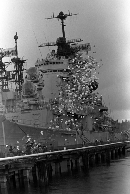 Balloons are released into the air as the battleship USS MISSOURI (BB 63) begins the trip to Long Beach Naval Shipyard, California, where it is scheduled to undergo reactivation/modernization construction