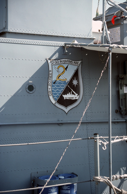 A view of the emblem for Patrol Combatant Missile Hydrofoil Squadron Two affixed to the side of the patrol combatant missile hydrofoil USS GEMINI (PHM 6). The ship is at the Washington Navy Yard during a port visit
