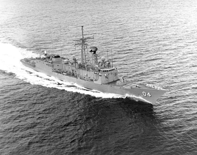 Aerial starboard bow view of the HMAS DARWIN (F 04) underway. This frigate (US hull number FFG 44) was built for Australia by Todd Pacific Shipyard Corporation, Seattle, Washington