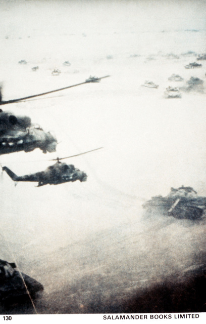 Helicopter-tank operation in Afghanistan. Courtesy of Soviet Military Power, 1984. PHOTO No. 130, page 116