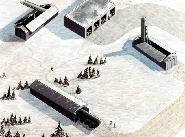 SS-X-25 Intercontinental Ballistic Missile Site. Courtesy of Soviet Military Power, 1984. PHOTO No. 1, (Pages 6 and 7)