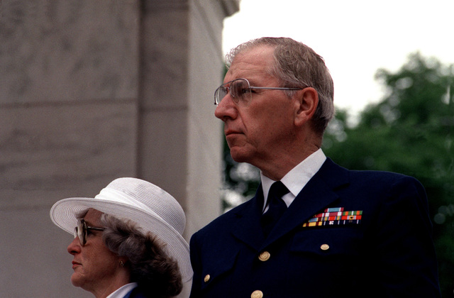 Admiral James S. Gracey, Commandant of the Coast Guard, attends the state funeral service for the Unknown Serviceman of the Vietnam Era, taking place in the Arlington National Cemetery Memorial Amphitheater. Following the service, interment will take place at the Tomb of the Unknowns