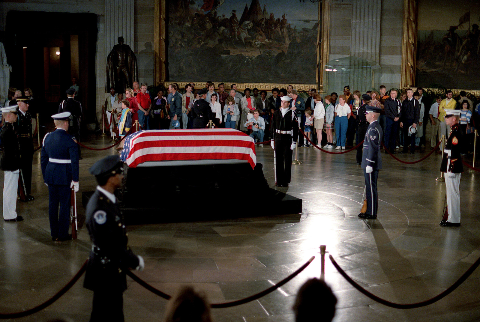 The Unknown Serviceman of the Vietnam Era lies in state in the Capitol rotunda. The serviceman will be taken to Arlington National Cemetery for a state funeral service and interment at the Tomb of the Unknowns