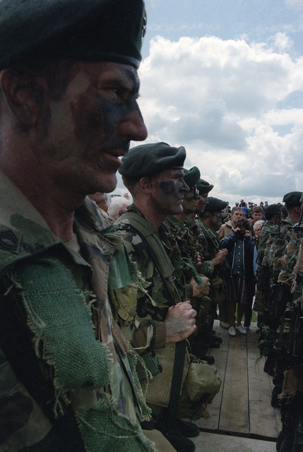 British paratroopers stand in formation during the 40th anniversary celebration of D-day, the invasion of Europe