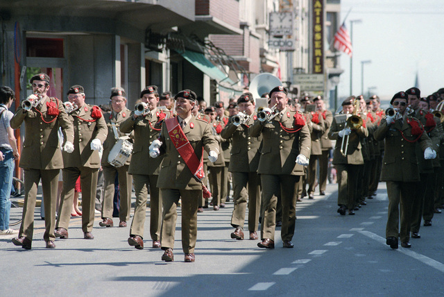 A Belgian military band marches in a parade commemorating the 40th anniversary of D-Day, the invasion of Europe