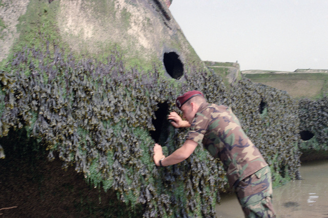 A soldier of the 82nd Airborne Division inspects the remains of a sunken World War II barges on the 40th anniversary of D-day, the invasion of Europe. (SUBSTANDARD)