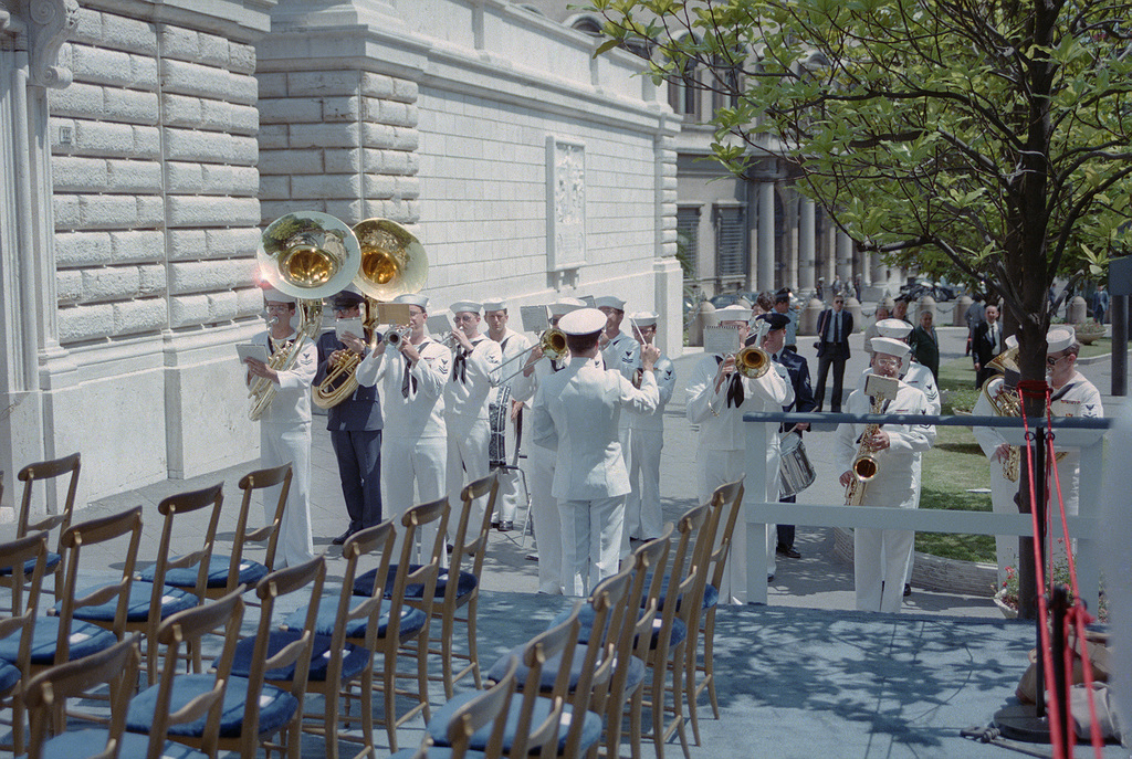 A US Navy Band performs during a ceremony commemorating the 40th anniversary of the liberation of Rome during World War II