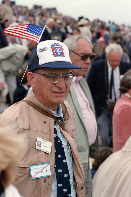 A World War II veteran attends a ceremony at Omaha Beach commemorating the 40th anniversary of D-day, the invasion of Europe