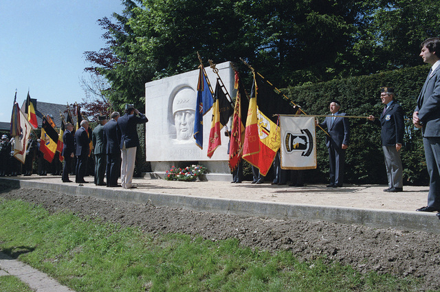 Dignitaries attend a wreath-laying ceremony at the Patton Memorial on the 40th anniversary of D-day, the invasion of Europe