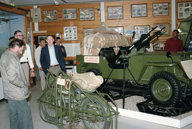 Members of the 82nd Airborne Division visit the Aldershot World War Museum on the 40th anniversary of D-day, the invasion of Europe