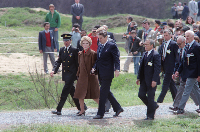 President and Mrs. Ronald Reagan arrive for a ceremony commemorating the 40th anniversary of D-day, the invasion of Europe