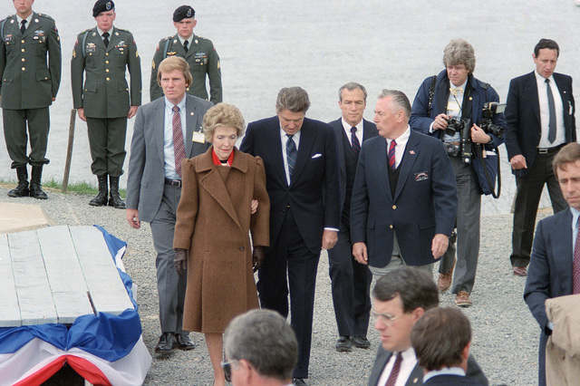 President and Mrs. Ronald Reagan tour Omaha Beach during a ceremony commemorating the 40th anniversary of D-Day, the invasion of Europe
