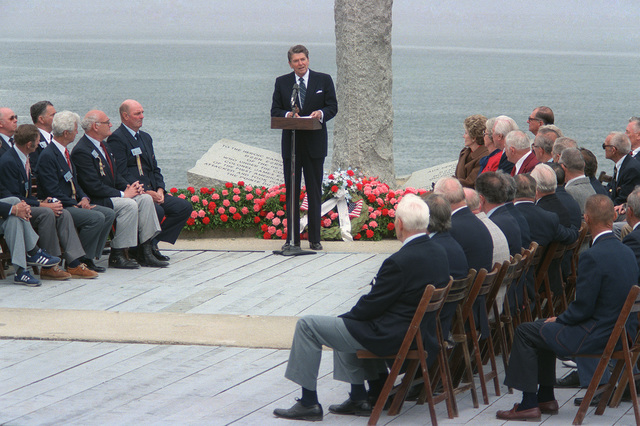 President Ronald Reagan speaks during a ceremony commemorating the 40th anniversary of D-day, the invasion of Europe