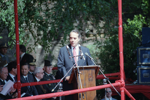 Senator Robert Dole, Republican, Kansas, speaks during a ceremony commemorating the liberation of Rome by the 1ST Special Service Force during World War II