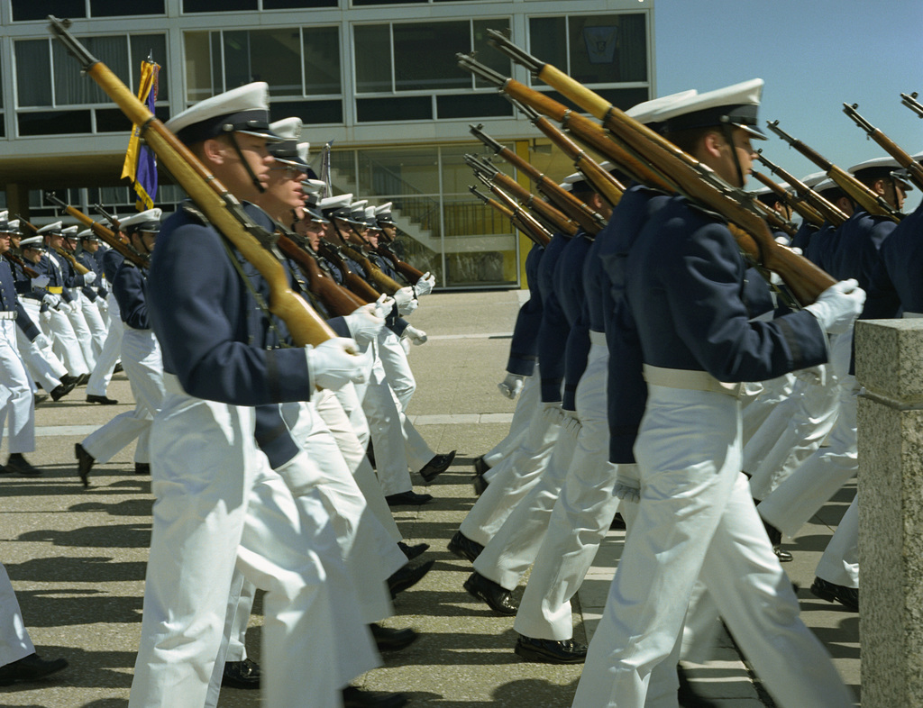 Cadets march in formation during a ceremony at the US Air Force Academy