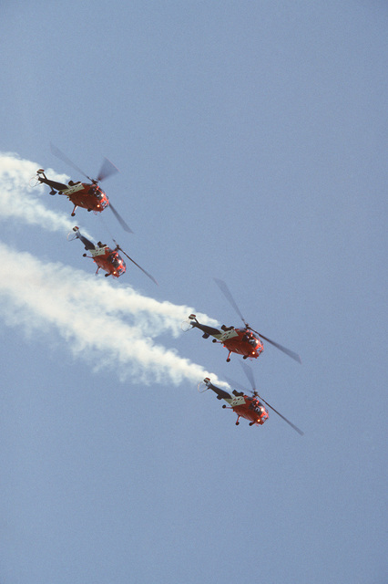 Four Alouette III helicopters from the Netherlands air force Grasshoppers demonstration team execute a climb during Air Fete '84
