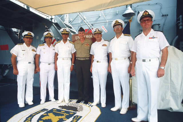 Officers from the United States and South America countries pose together prior to a ceremony marking the beginning of Operation UNITAS XXV. Marine Corps Brigadier General Joseph P. Hoar and Rear Admiral Clinton Taylor are standing in the center